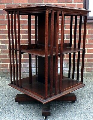 Victorian antique Arts & Crafts solid oak revolving library bookcase book shelf