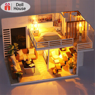 LED Music DIY Miniature Wooden Doll House Model Building Kit Kids Furniture Gift