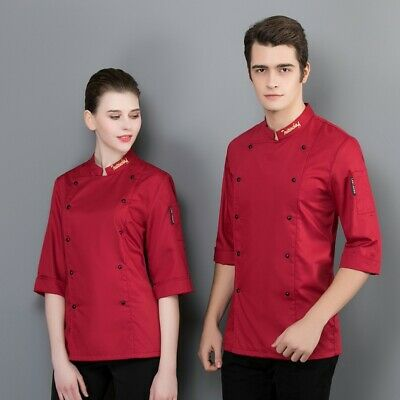 Men Chef Coat Letter Collar Chef Uniform Double-breasted Women Cook Clothes