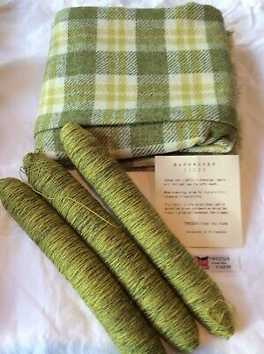 Vintage Wool YARN/handwoven Fabric Knitting Kit, Green Plaid, Skirt, Sweater Lot