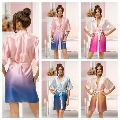 Nine X Ombre Satin Dressing Gown Wedding Robe Bridesmaid Bride Size S-2XL Kimono