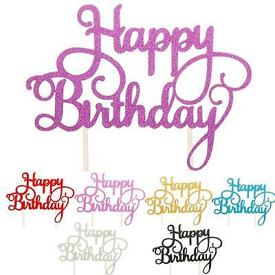 Cake Topper Birthday Glitter Calligraphy Bling Sparkle Decoration Party Happy