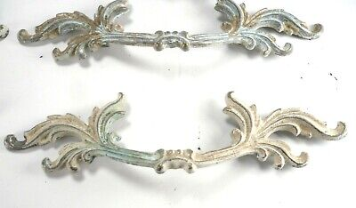 Vintage Drawer Pulls CH 1897 Ornate French Provincial Brass 7.5 inch Set of 6