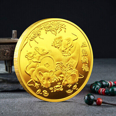 2020 Rat Year Challenge Coin Chinese Zodiac Souvenir Coin Gold Plated Coin ME