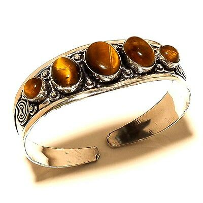 "Tigers Eye Gemstone 925 Sterling Silver Plated Handmade Bangle / Cuff 2.75 "" De1"