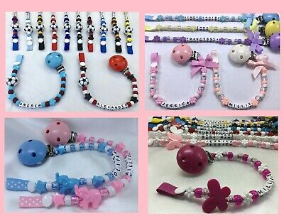 🎀 DUMMY CLIP 🐘Personalised Upto 12 Letters🚂4 DESIGNS & Various Colours 🎀