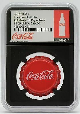 2018 Coca-Cola Bottle Cap Coke Silver Coin NGC PF69 Certified Fiji $1 - JC864