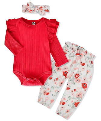 WESIDOM 3PCS Newborn Baby Girl Outfits,Infant Long Sleeve Ruffle Tops Romper and