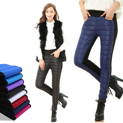 Winter Womens Pants Puffer Slim Windproof Outside Casual Warm Thick Trousers