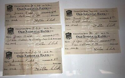 Five Old Checks OLD NATIONAL BANK Union City Tennessee For Work in 1942