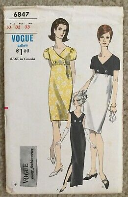 Vintage 1960's Vogue Young Fashionables Empire Dress Sewing Pattern #6847