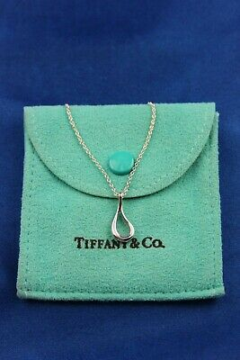 "Tiffany & Co Elsa Peretti Sterling Silver Open Teardrop Pendant & 16"" Necklace"
