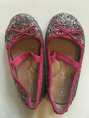 Girls Urban Jacks Rafferty Silver Sequin Slip On Lightweight Trainers Pumps 10-2