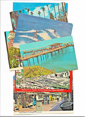 11 Postcards 1960-70s CALIFORNIA Los Angeles Union Station San Diego RR Surfing