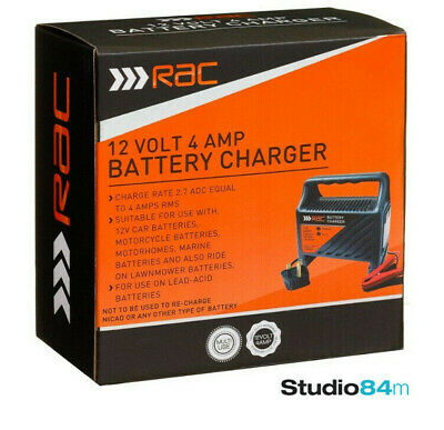 Rac 12V 4 Amp Lead Acid Car Motorcycle Lawn Mower Multi Use LED Battery Charger