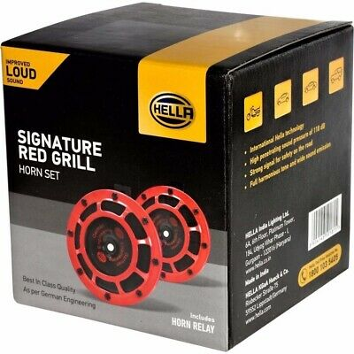Hella Loud Sound Twin Horn Set 12V Red Grill Fits Cars Truck Jeep With Relay