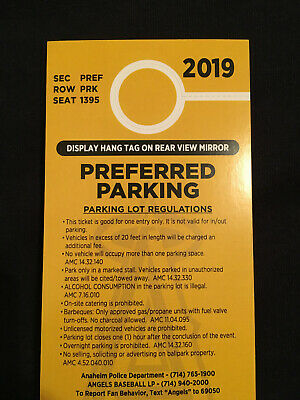 PREFERRED PARKING PASS for Angels vs Houston Astros 9/29 at ANGELS STADIUM