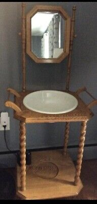 Vintage Antique Wash Basin Bowl Stand Solid Wood ironstone Bowl W Mirror EX COND