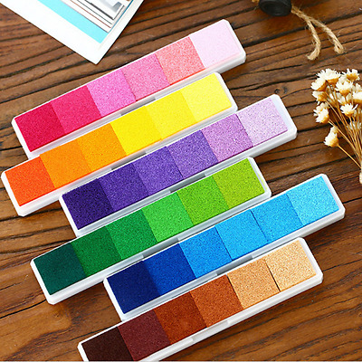 Non-Toxic Gradient Color Ink Pad Inkpad Rubber Stamp Oil Based Finger Print AU