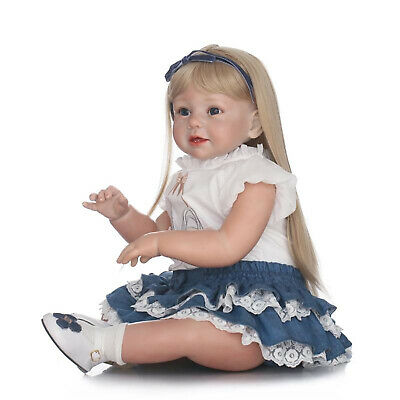 "28"" Reborn Toddler Lovely Real Size Reborn Baby Dolls Golden Hair Child Playmate"
