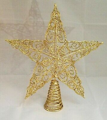 "Star Tree Topper Large Gold Filigree Wire Christmas Metal 10"" Kurt Adler"