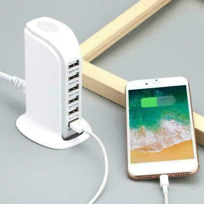 25W Multi 6USB Ports PC Desktop Charger Rapid Charging Station Power Adapter New