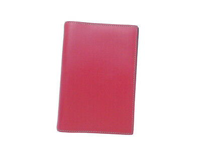 Auth HERMES Circle W (1993) Note/Agenda Cover Red Boxcalf Leather - e42076