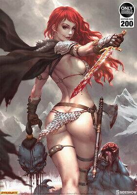 Sideshow Red Sonja Birth of the She-Devil Art Print by Kendrick Lim Signed NEW