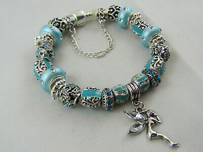 """925 SILVER STAMPED 20cm EUROPEAN STYLE CHARM BRACELET  """"TURQUOISE TREAT"""" (#1721)"""