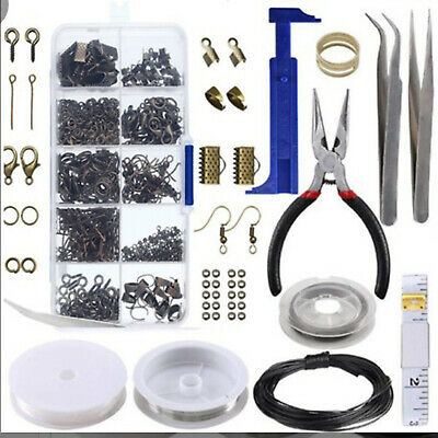 Set Large Jewellery Making Kit Pliers Silver Beads Wire Starter Tool Home DIY AU