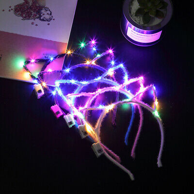 1-10x Women Girls Flashing LED Cat Ear Light Up Festival Party Headband Decor UK