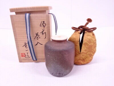 4330685: Japanese Tea Ceremony / Bizen Ware Tea Caddy Katatsuki Chaire / Artisan