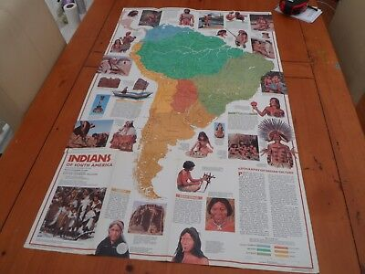 vintage nat geographical map of South american native indians... 1982 wallchart