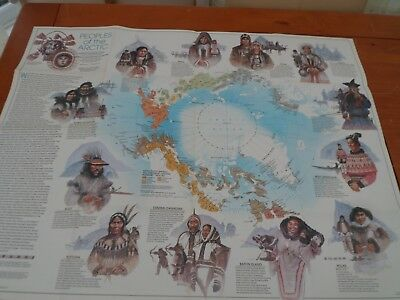 vintage nat geographical map of The Arctic... 1983 wallchart double sided
