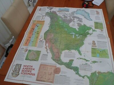 vintage nat geo map  Native America Indians 1972 wallchart double sided