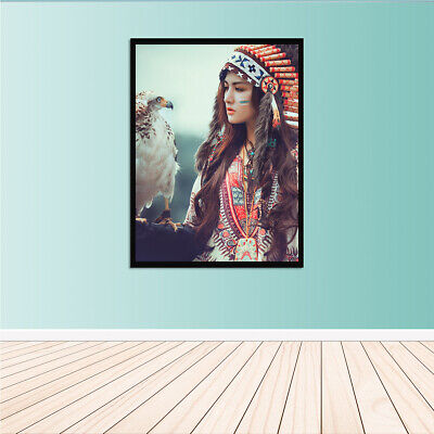 Indian Woman with Eagle Home Decor Room HD Canvas Print Pcture Wall Art Paints