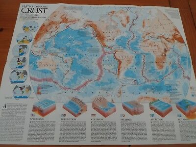 vintage nat geo map 1985 wallchart Earths Crust. Movement of