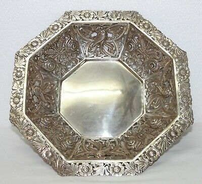 Antique sterling silver service tray hand carved chiseled Animal & Floral motif