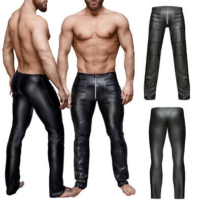 Herren Lackleder Lange Johns Tight Hose Unterwäsche Wetlooks Trousers Clubwear