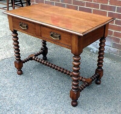Victorian antique Arts Crafts solid oak 2 drawer writing hall console table desk