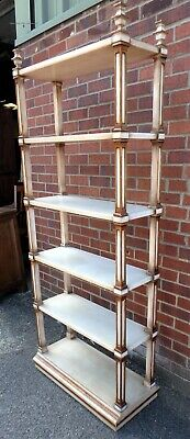 Regency antique style country house painted open bookcase book display shelves