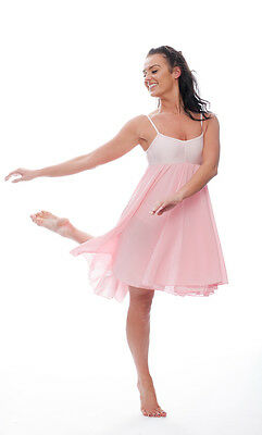 Ladies Girls Pale Pink Lyrical Dress Contemporary Ballet Dance Costume By Katz