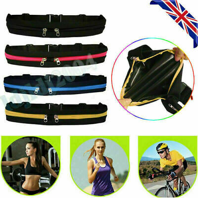 Dual Pocket Runner Waist Pack Belt Bag Pouch Bum Sports Jogging Running Gym Yoga