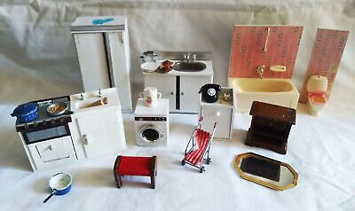 Vintage Lot of Dollhouse Furniture, Toilet, tub, Sinks, washer & Misc.