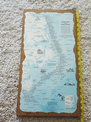 Vintage 1970 Ghost Fleet Of The Outer Banks Shipwreck Map NatL Geographic/WOOD