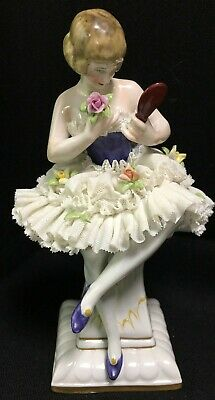 Ernst Bohne Rudolstadt Dresden Germany Porcelain Ballerina Figurine Lace Dress