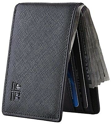 Mens Slim Minimalist Front Pocket Wallet Genuine Leather ID Window Card Case RFI