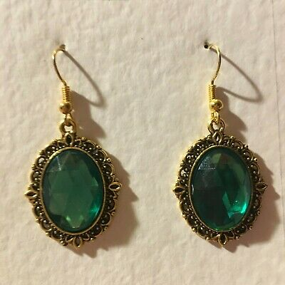 VICTORIAN STYLE MID GREEN ACRYLIC CRYSTAL FILIGREE GOLD P EARRINGS SNVG hook