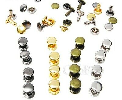 Double Cap Rivets 8mm Stud Leather Craft Shoe Bag Repair- 4 Colours- HD049