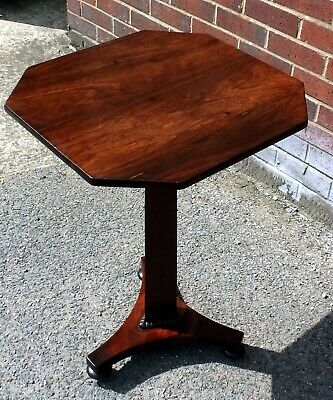 Regency George III antique figured rosewood octagonal lamp side occasional table